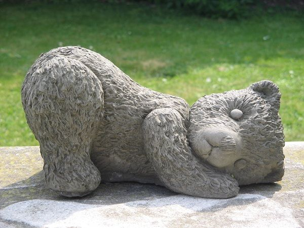 Playful Teddy Bear Garden Statue