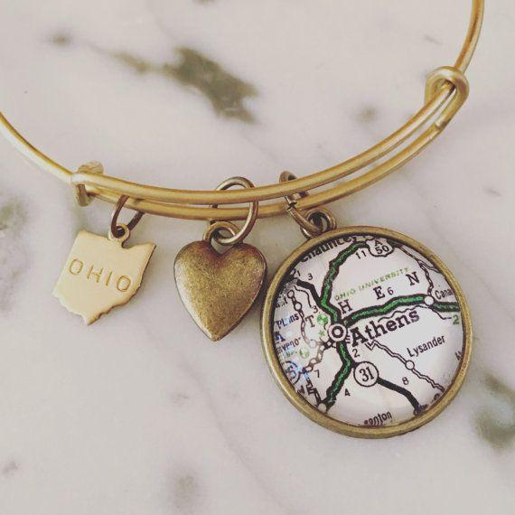 Ohio University Map Charm Bangle Bracelet - Personalized Map Jewelry - Athens - Ohio - School Pride - Alumni - Bobcats - Stacked Bangle