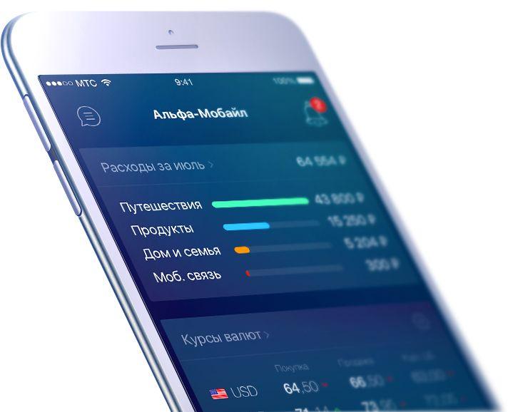Дизайн приложения «Альфа-Мобайл» для айфона (концепт)