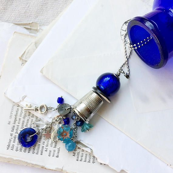 Vintage boho style with long necklace pendant gift thimble