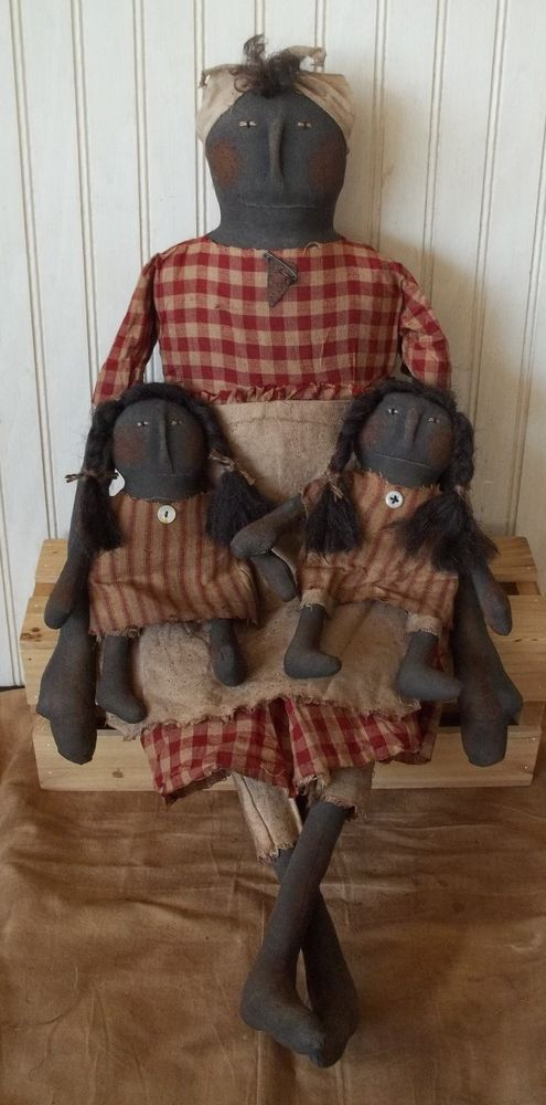 Primitive Grungy Black Mammy Doll with Her Twin Girls #NaivePrimitive