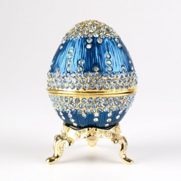Fancy Blue Faberge Egg with Stand