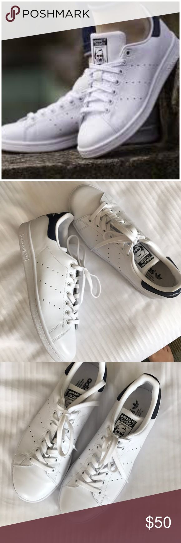 Stan smith adidas, navy, fits 10-10.5, sample Navy is hard to find.. adidas, stan smith for women, marked size 9.5, but run half size to one size big. Will fit size 10-10.5. Please try at mall to confirm size, store sample, never worn outdoors. 🚫no trades. Perforated stripes detail the sides of an iconic tennis shoe updated in rich leather and finished with a contrasting logo overlay at the heel. Lace-up style Leather and synthetic upper/synthetic and textile lining/rubber sole adidas Shoes…