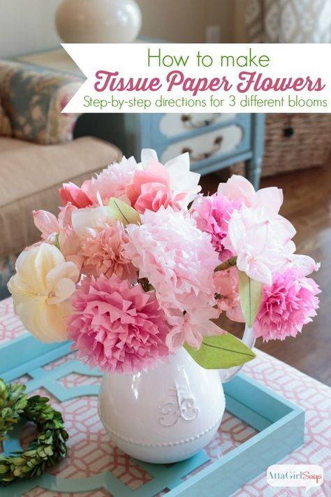 Learn how to make tissue paper flowers with this easy step-by-step ...