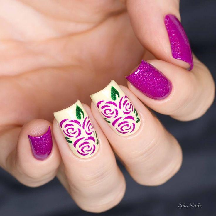 Magenta Roses Nail Art