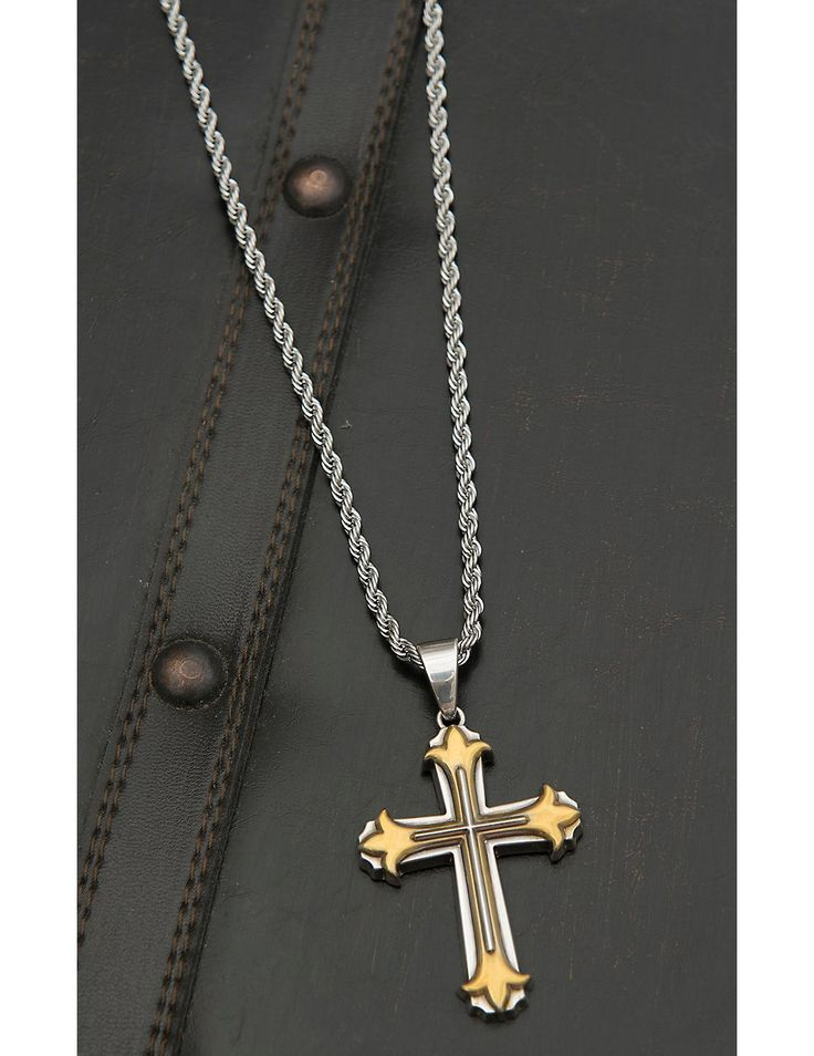 M&F Twister Men's Silver with 3D Gold and Silver Cross Necklace | Cavender's