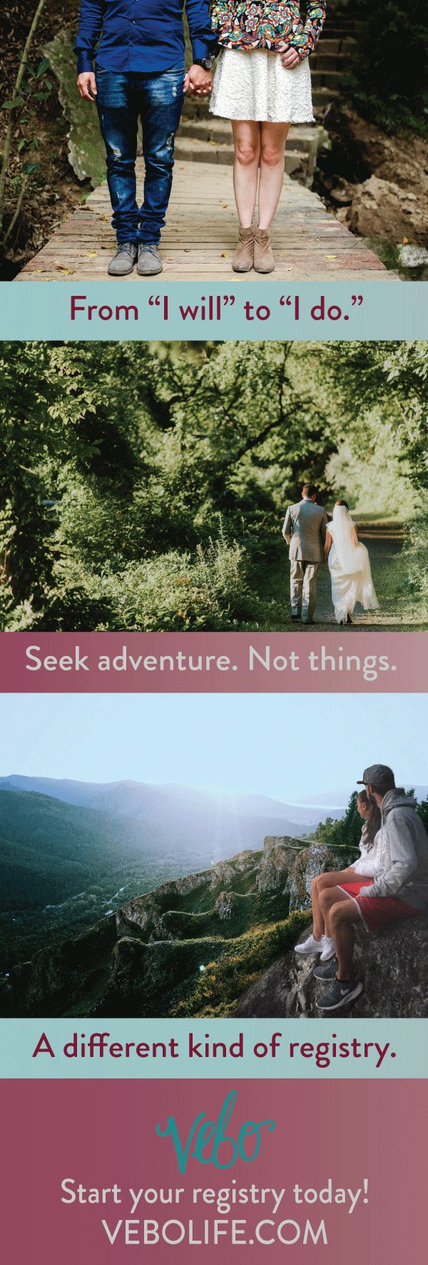 VEBO is a wedding registry for adventurous couples. Sign up for free to start adding experiences to your registry, like horseback riding, skydiving, backpacking trips, whitewater rafting, wine tasting, brewery tours and more! Add experiences to your registry, then share with friends and family so they can chip in to purchase your next adventure. And 5% of all sales go to a charity YOU select! Start your registry today!