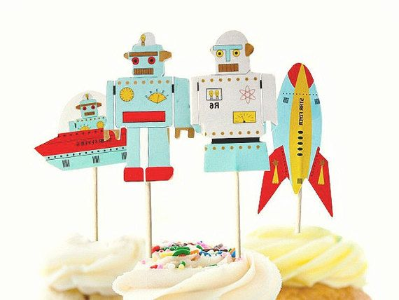 Robot Cupcake Toppers 12 Spaceship Cupcake by LittlePaperFarmhouse