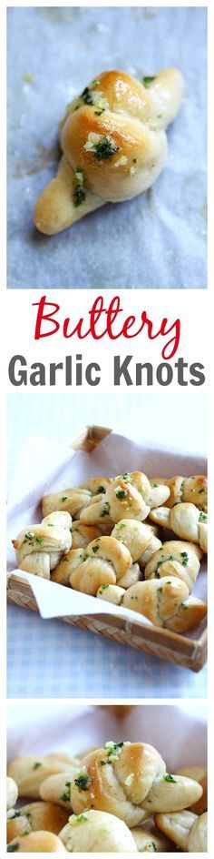 BUTTERY Garlic Knots - using store-bought pizza dough & garlic butter. SUPER tasty, easy, and anyone can make at home as a side dish | rasamalaysia.com