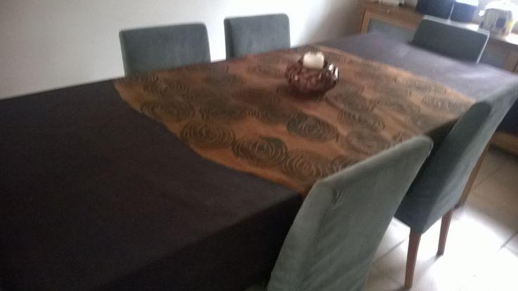 Secrets, hand painted tablecloths, 150 x 300 cm.