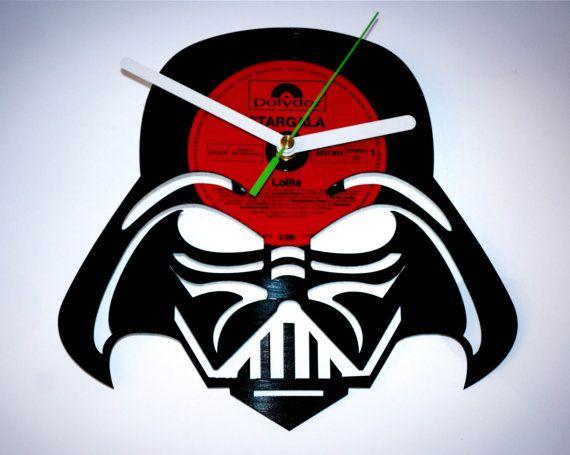 vinyl record clock lord vader.wall clock star wars. original gift idea.upcycle vinyl art