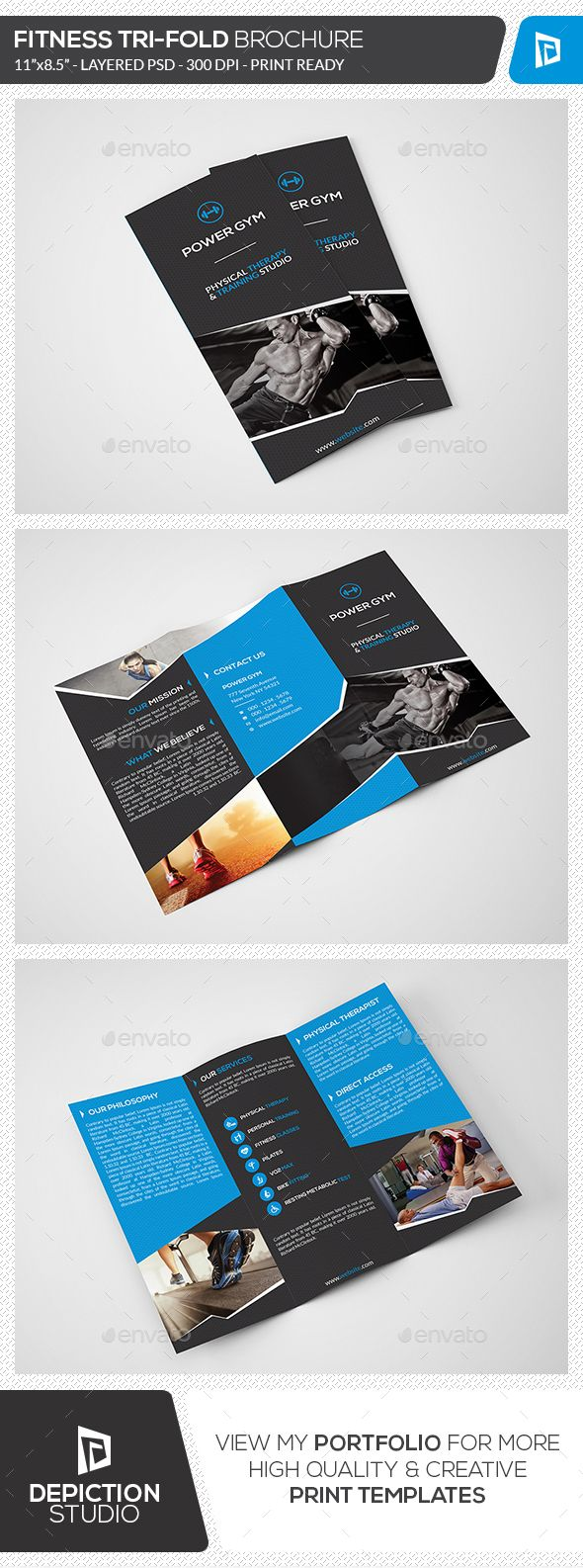 Fitness Tri-Fold Brochure Template #design Download: http://graphicriver.net/item/fitness-trifold-brochure/13102539?ref=ksioks