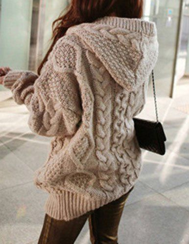 Stylish Women's Cable-Knit Hooded Cardigan