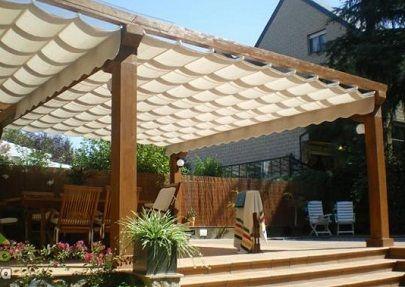 Decoraci n de terrazas porches p rgolas y toldos for Toldos para patios