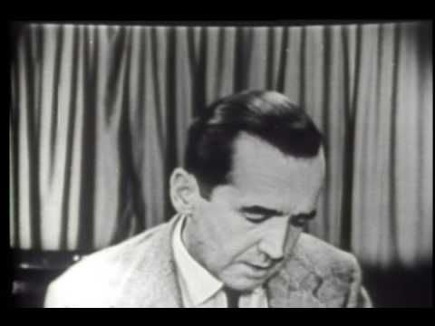 """March 9, 1954 - Edward R. Murrow delivers a message to the junior senator from Wisconsin, Joseph McCarthy on """"See It Now."""""""