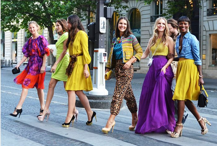 You ROCK that chartreuse blouse and purple maxi skirt, girl.  Rock it like you just don't care.