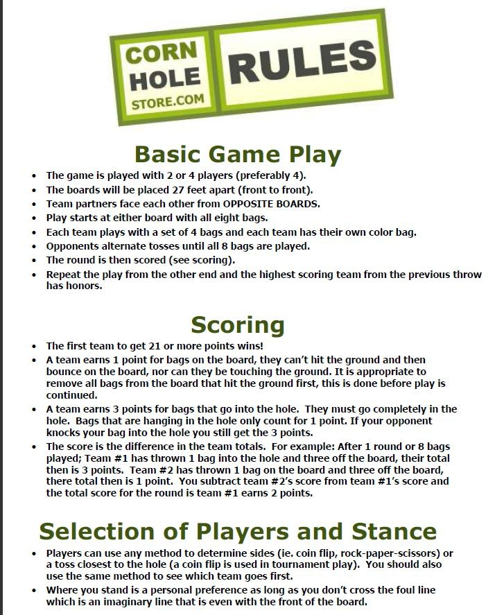 """corn hole rules...good to know the """"official"""" rules."""