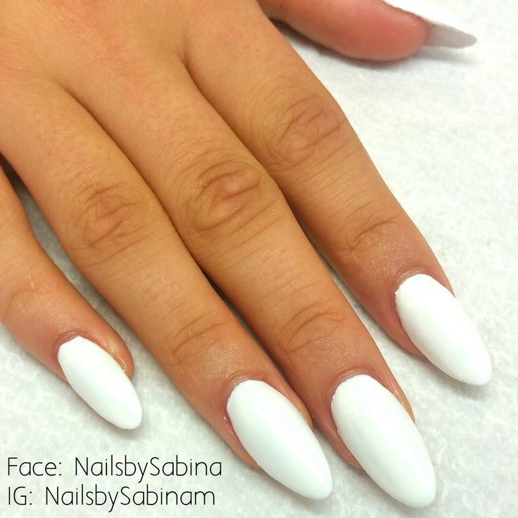 Acrylic nails with White gelish and matte top coat.