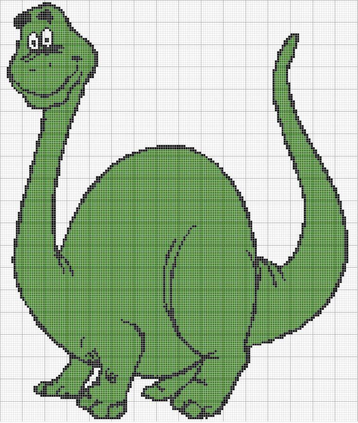 Free Cross Stitch Pattern - Angels Crochet - Dinosaur Chart