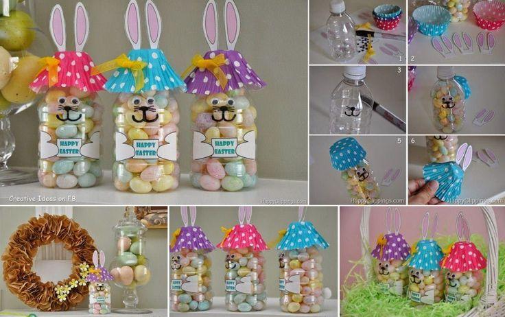 3 Πασχαλινές κατασκευές που θα ξετρελάνουν τα παιδιά!    Πασχαλινά Λαγουδάκια    Υλικά:  ένα μπουκάλι νερού  σοκολατάκια πασχαλινά αυγά/ πλαστικά διακοσμητικά πασχαλινά αυγά  θήκη για cupcakes  μαρκαδόρος  ματάκια για χειροτεχνίες  κόλλα  κοπίδι  2 αυτιά χαρτονένια    Παίρνουμε το πλαστικό μπουκαλι και ζωγραφίζουμε με το μαρκαδόρο τη φατσούλα του λαγού