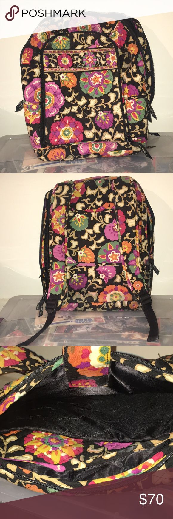 Vera Bradley back pack Large main inside zip-up pocket. Hidden back zip-up pocket with a laptop compartment and extra space. Front smaller pocket with several different compartments for change, credit cards, etc. Adjustable straps. This pattern is no longer available on the Vera Bradley website or in stores. Barely used, only ever filled with school books and binders. Vera Bradley Bags Backpacks