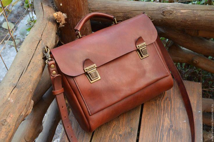 Купить Портфель МД - коричневый, кожаный портфель, мужской портфель, женский портфель, Кожаная сумка