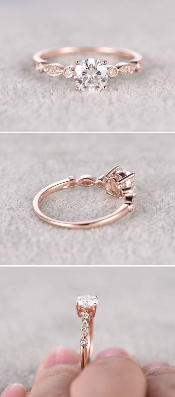 Moissanite in Rose Gold Engagement Ring - Gardening Aisle wedding rings pictures simple vintage sets wedding rings sets kay jewelers wedding rings wedding rings for men zales wedding rings cheap wedding rings womens wedding ring sets unique wedding bands