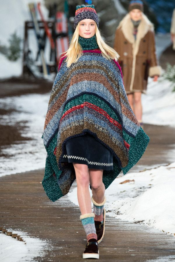 knitted poncho with sneakers