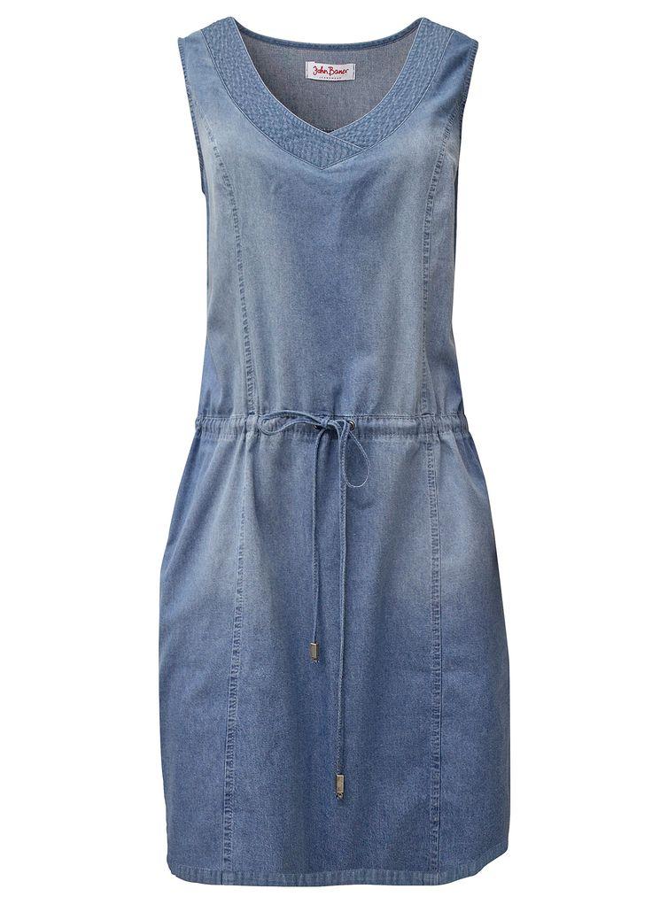 Vestido jeans com cordão de ajuste azul médio alvejado encomendar agora na loja on-line bonprix.de  R$ 139,00 a partir de Este vestido jeans sem mangas tem ...