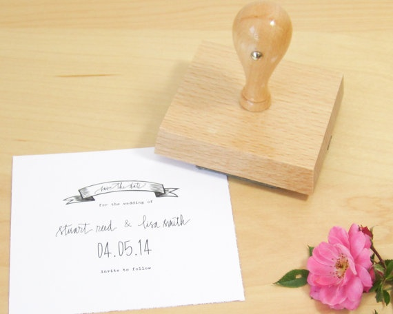 Custom Calligraphy Save The Date Stamp  wedding by papersushi, $55.00
