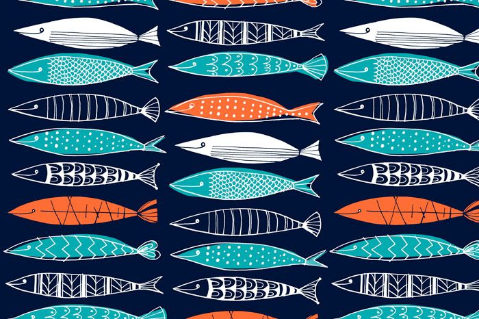 Margaret Berg Art: Sardines Surface Pattern: Navy