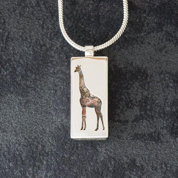 Giraffe featuring Leopard Skin Jasper - Hand-cut REVERSIBLE Sterling Silver Pendant