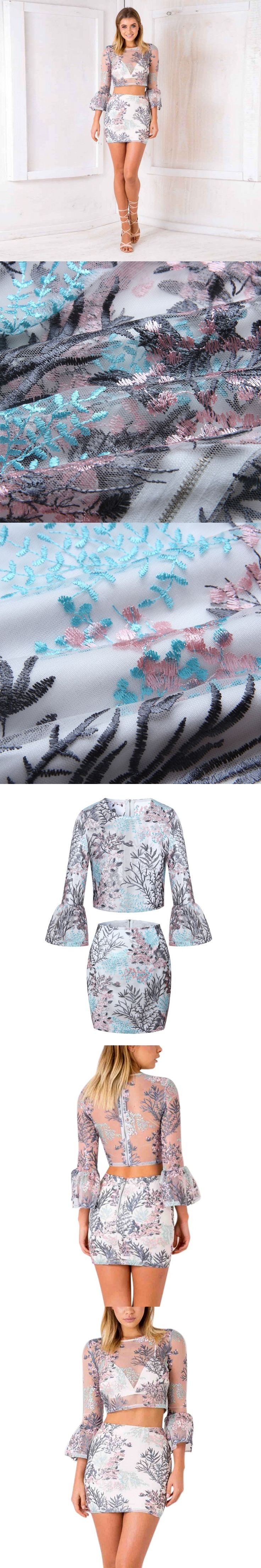 Mesh Crop Tops and Skirts Plant Printed Embroidery 2 Piece Set Women Transparant Slim Clothes Sets 2017 O Neck Sexy Suits