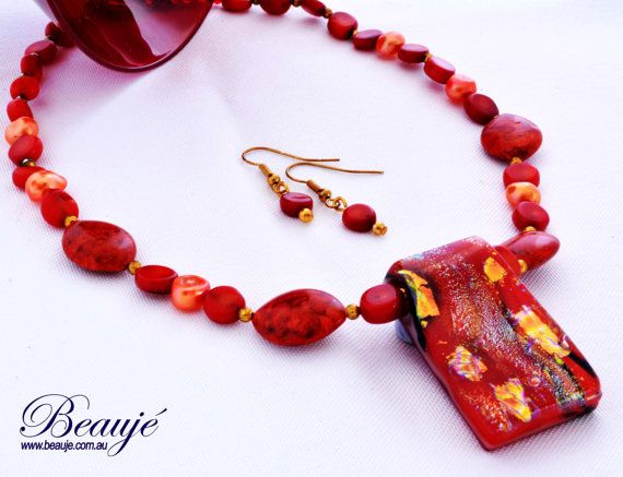 SALE-Dichroic pendant necklace Red necklace by BeaujeJewellery