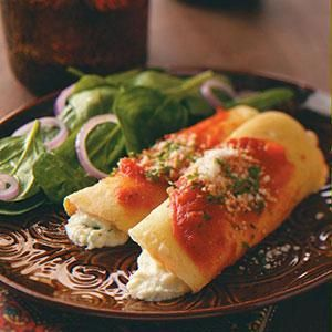 Homemade Manicotti Recipe from Taste of Home -- shared by Sue Ann Bunt of Painted Post, New York