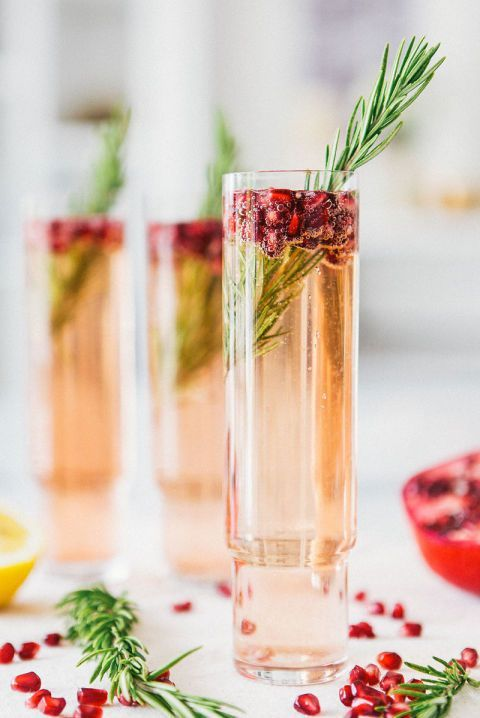 The refreshing taste of rosemary and pomegranate will make your Christmas Eve. Get the recipe at A House In The Hills. (refreshing alcoholic drinks glasses)
