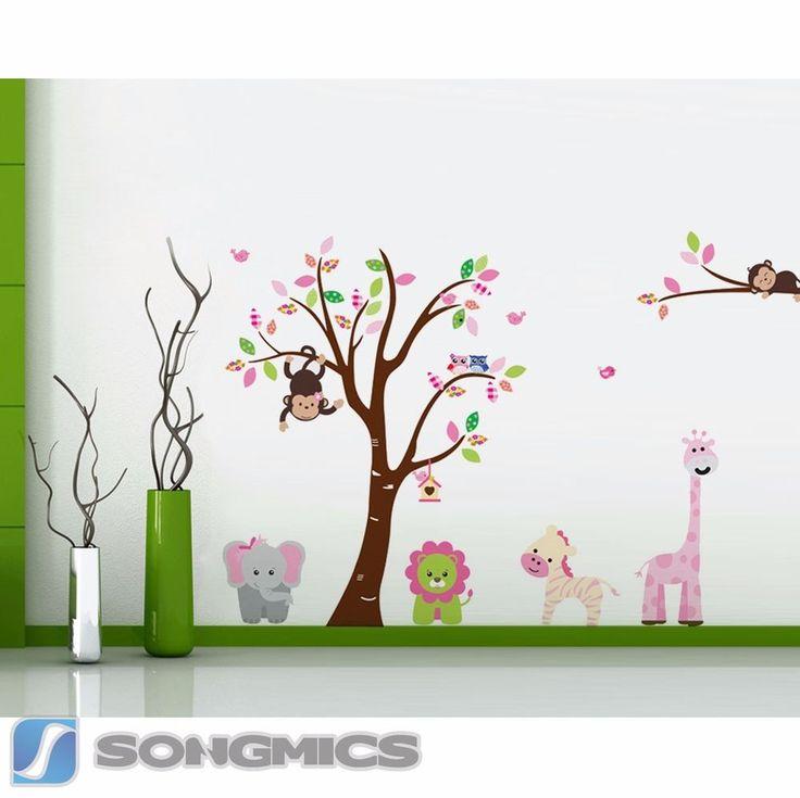 Wandtattoo Baum Affe Tiere Eule Wald Kinderzimmer Sticker Zoo Deko Xxl Fwt16c Kinderzimmer