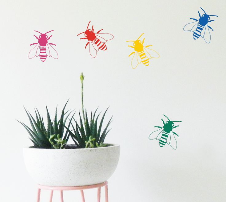 Colourful Bees wall stickers. Update your Children's wall with our unique wall decals.https://www.moonfacestudio.com.au/product-page/bees-wall-sticker-decal #bees #wallstickers #walldecals #kidsroomdecor