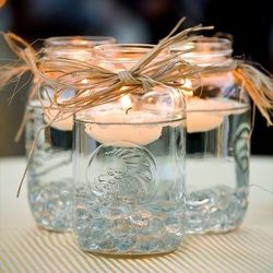 centerpieces: Ideas, Masons, Floating Candles, Wedding, Teas Lights, Mason Jars Centerpieces, Mason Jars Candles, Masonjars, Center Pieces