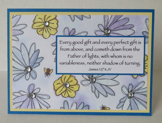 Spring Flowers And Bees Handmade Christian Birthday Card With Scripture  by stufffromtrees on Etsy
