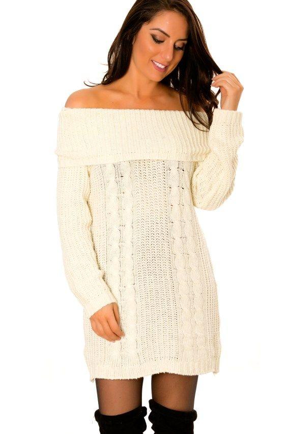 Robe pull blanc casse