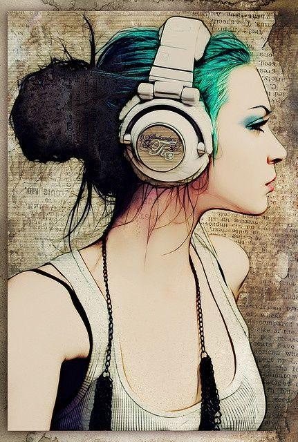 Girl w/ headphones - Drawing