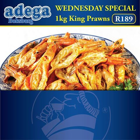 WEDNESDAY KING PRAWN SPECIAL @ Adega Boksburg: *1kg King Prawns for only R189! Don't miss out! Book your table today 011 918 2219. T's & C's apply. Shop 1, Westwood Village, Corner Atlas Road & Phillips Street, Boksburg. #AdegaBoksburg #KingPrawnSpecial #Prawns #SeaFood #ShellFish #Yum #Food #PortugueseCuisine