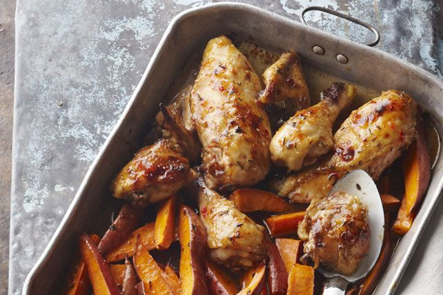 Brown sugar and fresh thyme lend their flavors to this easy oven-baked chicken and sweet potato dish.