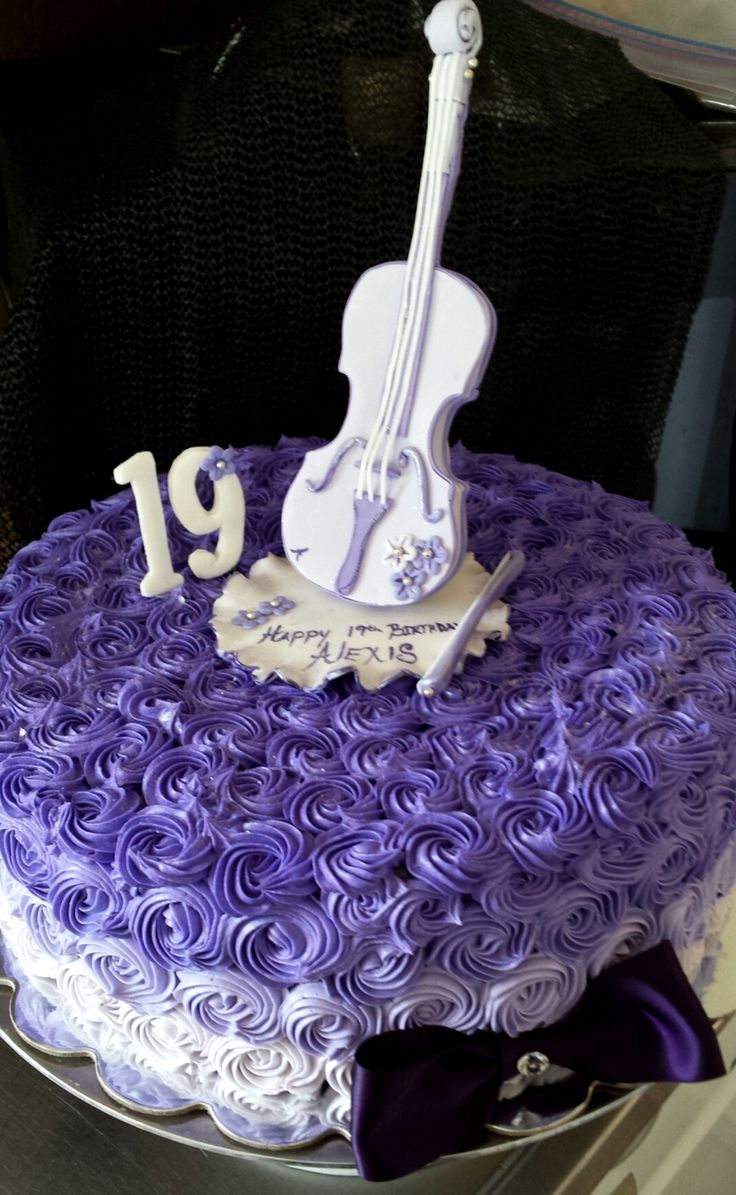 Violet Violin Cake With Hand Crafted Toppers