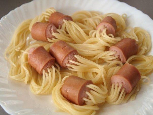 Идея приготовления макарон с сосисками