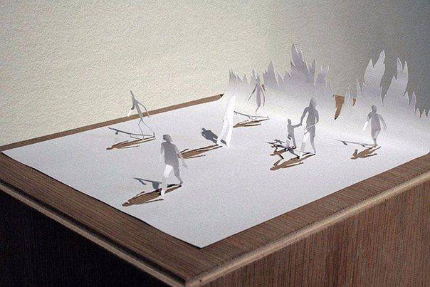 Скульптуры из листа бумаги  Датский художник Питер Каллесен создает невероятные произведения искусства из одного листа бумаги формата А4. Вырезая и складывая, он создает невероятные сцены из самого простого материала – бумаги.  #Abbigli #хендмейд #подарки #рукоделие #хобби #креатив #handmade #идея #вдохновение #искусство #избумаги #бумага