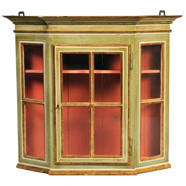 antique pine glass fronted cabinet 2