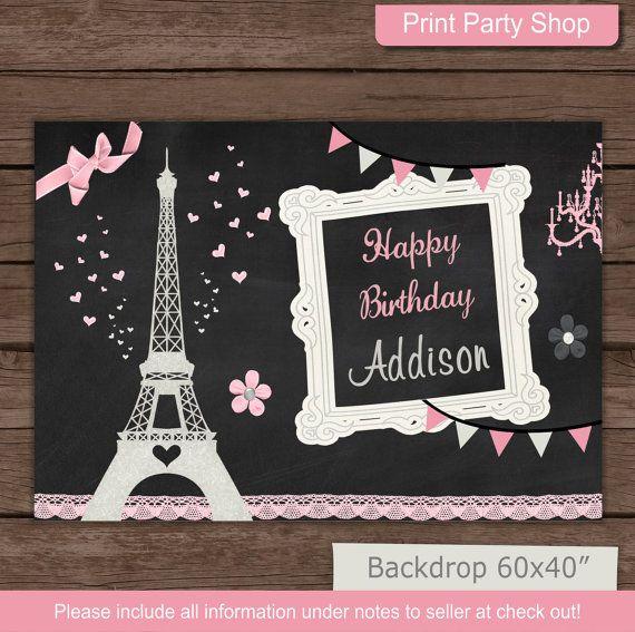 Telón de fondo de cumpleaños Paris / imprimible telón de fondo