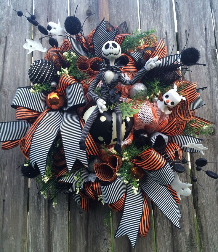 Halloween Wreath, Halloween Mesh Wreath, Nightmare Before Christmas Wreath, Jack Skellington Wreath, Beware of the Pumpkin King by BaBamWreaths on Etsy https://www.etsy.com/listing/236566197/halloween-wreath-halloween-mesh-wreath